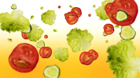 Flying fresh vegetables slow motion shot. Tomatoes, cucumbers, letuce. 4K video Animation