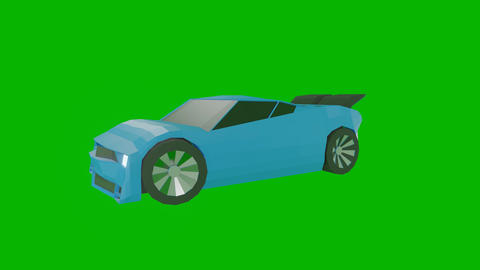 Blue sports car rotates in a circle against a green background Videos animados