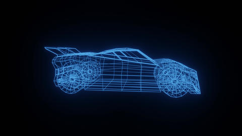 Wireframe sports car rotating in a circle against a black background Videos animados