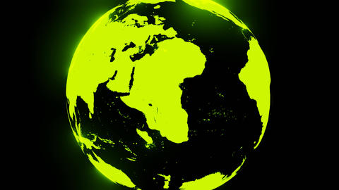 Green holographic globe on black background CG動画
