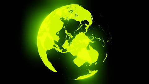 Green holographic globe on black background Animation