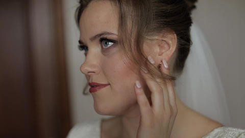 Lovely portrait of bride in veil. Face close-up. Pretty gorgeous woman. Wedding Live Action