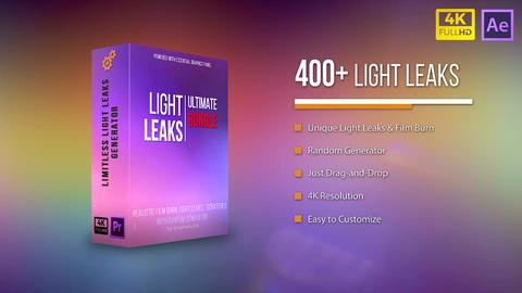 4K Ultimate Light Leaks Bundle After Effects Template