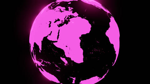 Pink holographic globe on black background Animation