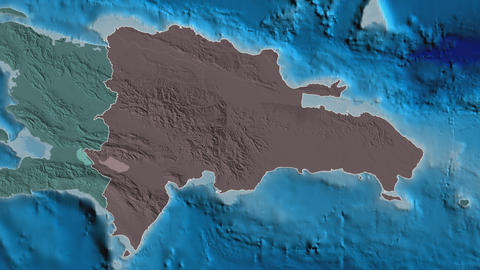 Azua extruded. Dominican Republic. Stereographic administrative map Animation