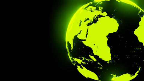 Green holographic globe on black text space CG動画
