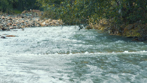 Stormy mountain river with blue clear water close up. fabulous mountain Live Action