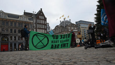 Banner From The Rebellion Extinction Demonstration On The Dam At 6-1-2020 Amsterdam The Netherlands Live Action