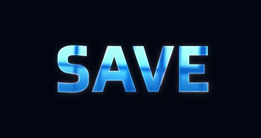 Save, Saving. Electric lightning text. Logotype Animation