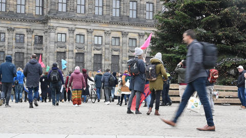 Demonstrators At The Rebellion Extinction Demonstration On The Dam At 6-1-2020 Amsterdam The Live Action