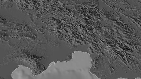 Azua extruded. Dominican Republic. Stereographic bilevel map Animation