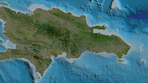 Bahoruco extruded. Dominican Republic. Stereographic satellite map Animation