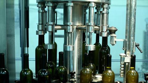 conveyor with wine bottles at wine factory. white wine production, wine bottling ライブ動画