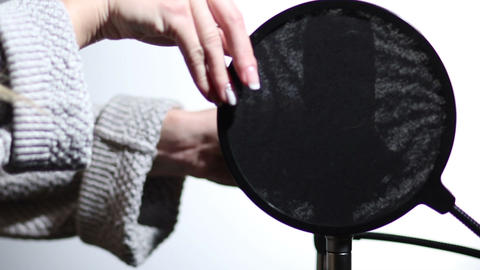 Microphone and pop filter in sound studio Footage
