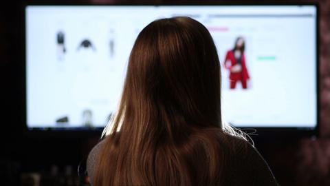 Back view of woman shopping online with computer Footage