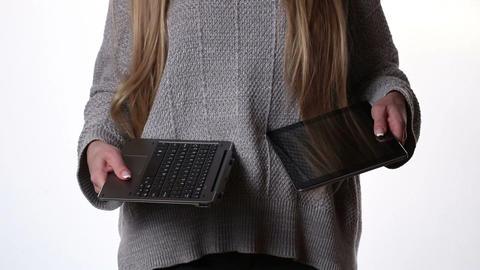 Modern laptop transformer with docking keyboard Footage