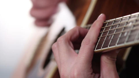 Man's hand playing guitar Footage