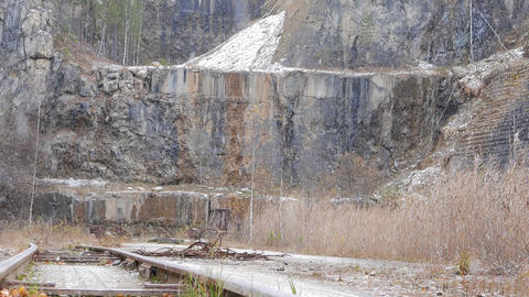 It is snowing in the quarry. Urals, Russia Footage
