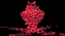 Diamond attracting rose petals, camera rotating, Alpha Channel Animation