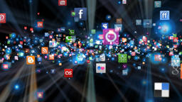 Social Network Icons flying, shine, Alpha PNG Animation