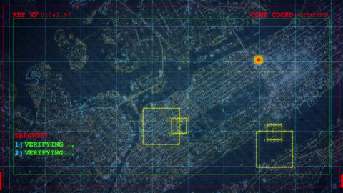 A night aerial reconnaissance using satellite technology showing computerized lo Animation