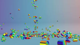 Colorful Geometric Objects Falling Animation