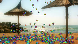 Colorful Objects Falling and Summer Time text against seaside and beach umbrella Animation