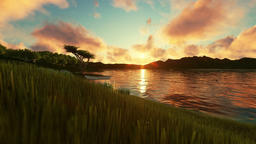 Couple enjoying a sunset, beautiful green meadow and lake surrounded by mountain Animation