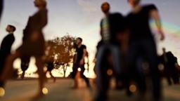 Crowd walking, blurry sunset Animation
