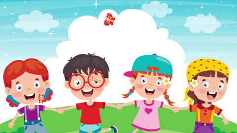 Animation Of Happy Little Children Having Fun CG動画
