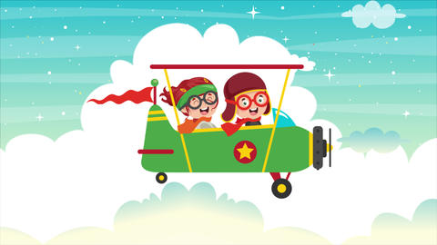 Animation Of Happy Kids Flying On An Airplane Videos animados
