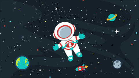 Animation Of An Astronaut At Space Videos animados