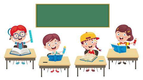 Animation Of Cartoon School Children Videos animados