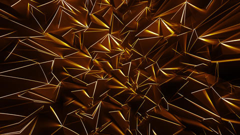 Gold Polygonal Background with Glowing Edges Animation