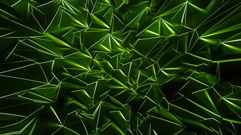 Green Polygonal Background with Glowing Edges Animation