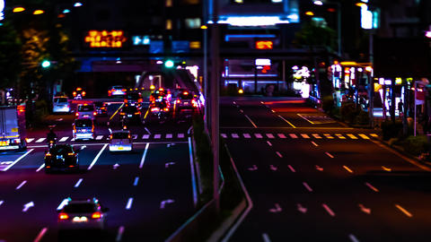 A night timelapse of the miniature urban city street in Aoyama tiltshift panning Live Action