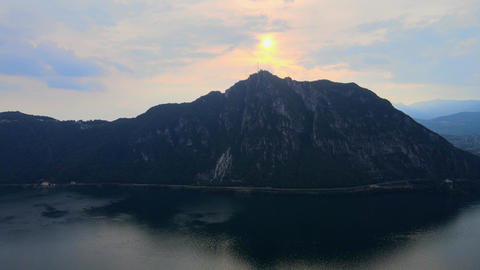 Aerial view over the Lake Lugano in Switzerland - evening view Live Action