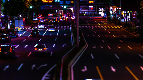 A night timelapse of the miniature urban city street in Aoyama tiltshift tilting Live Action