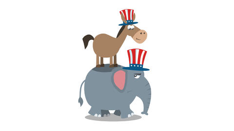 Winner Donkey Democrat On The Back Of The Elephant Republican Animation