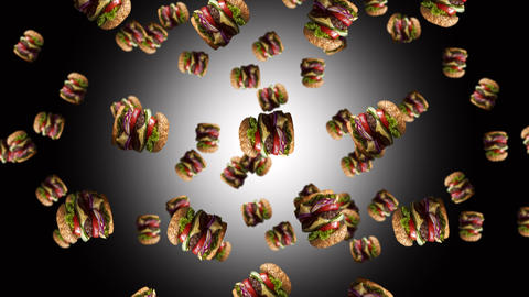 Hamburgers falling. Fast food menu promo opener. 4K video Animation