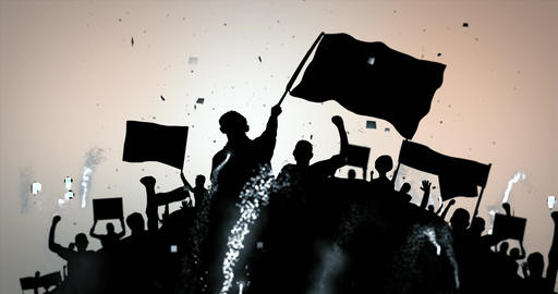 Silhouette crowd waving flags and banners and celebrating with confetti and fireworks. Seamless loop CG動画