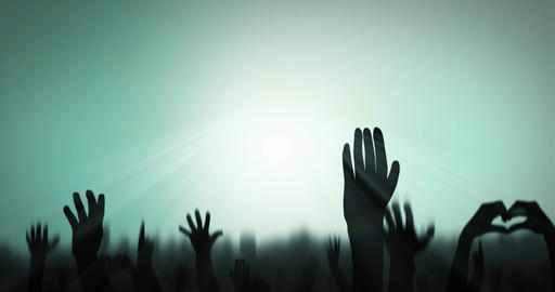 Sillhouettes of crowd celebrating against color changing background - Loop Animation