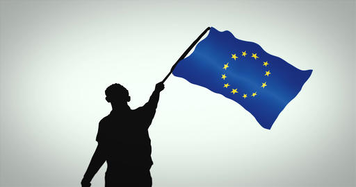 Black silhouette of a person waving the European Union flag. Seamless loop Animation