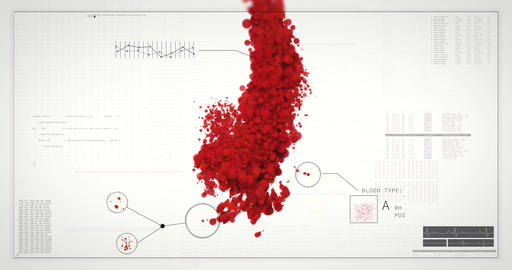 Incoming blood analyzed in HUD interface. Virus, Antibody test, blood type check Animation