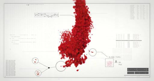 Incoming blood analyzed in HUD interface. Virus, Antibody test, blood type check Videos animados