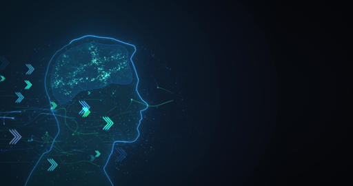 Glowing profile of a person receiving digital data. Loop animation background Animation