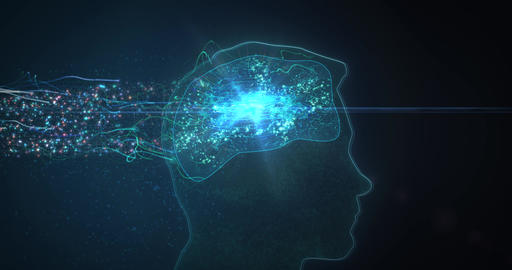 TechnologySillBrain Loop 4KData streams flow into a person's brain in profile view. Particles, data, Animation