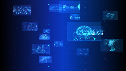 Digital Network Technology AI 5G data communication concepts background E Rotate C Blue Videos animados