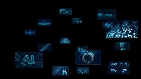 Digital Network Technology AI 5G data communication concepts background E Rotate C Sozai CG動画