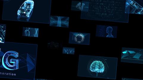 Digital Network Technology AI 5G data communication concepts background E Move B Sozai Animation